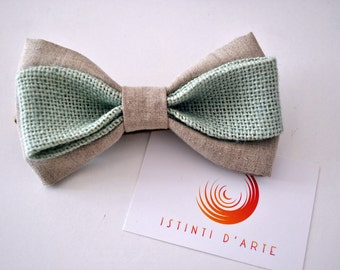 Bow tie for men made of pure linen and jute