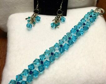 Blue crystal bracelet set
