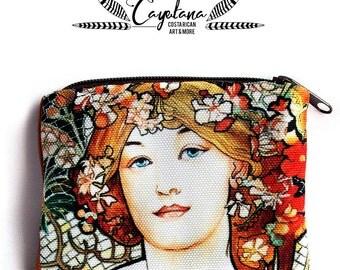 Alphonse Mucha Art Nouveau Woman Small Zipper Pouch Coin Purse Keyholder, Business Card Holder Purse Organizer