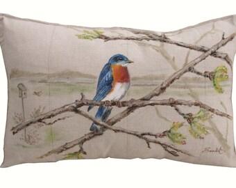 """BLUEBIRD PILLOW COVER  Decorative Lumbar Pillow 20"""" x 12"""""""