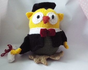 Hand Knitted Graduation Owl