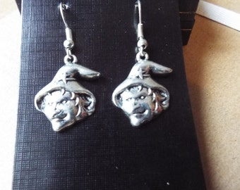 Witches face halloween drop earrings, tibetan silver