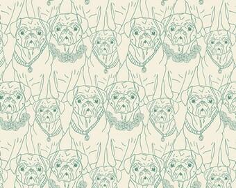 SALE - 20% OFF -- Pug Ville print in Green by Bari J.- cotton fabric- 1/2 yard