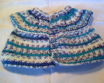 Baby Sweater - Teal/Purple/White with lavender flowered buttons
