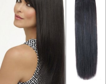 Shade 1B clip in human hair extensions
