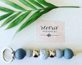 Wooden bead key ring