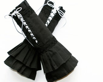 japan's Gothic arm warmers black lacing wrinkles schoolwear military visual kei