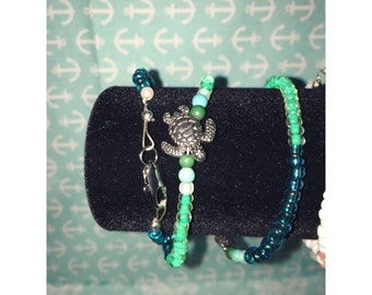 Turtle and Fish Wrap Bracelet.
