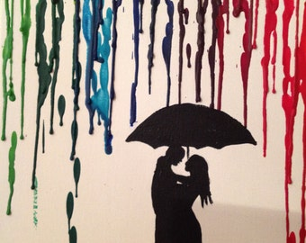 Melted wax crayon canvas art