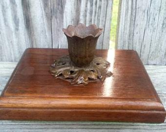 Vintage wooden candlestick holder with felt bottom