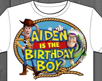Toy Story, Personalized, Iron on, Birthday, custom, Label, party, Decorations, Transfer, t-shirt, shirt, favors, Decal, Woody, Buzz, Invite