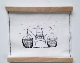 Fishing boats with poster hanger