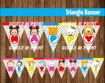 Tsum Tsum Banner, Printable Tsum Tsum Triangle Banner, Tsum Tsum party Banner instant download