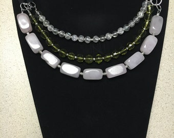 Leather and crystals necklace