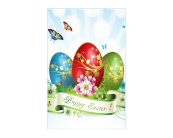 """Colorful Eggs ~ Easter Card ~ 5.25"""" x 8.25""""  Folded ~ Sets of 5, 10, 15, 20, 25"""