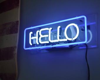 Neon Sign HELLO in Acrylic Box