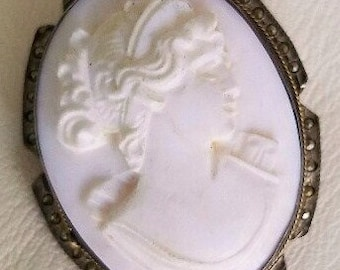 Cameo Brooch or Pendant - Vintage - Angelskin in Silver with Marcasites