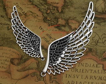 2PCS--108x38mm ,Angel wing Charms, Antique Silver large Angel wing Charm pendant, DIY supplies,Jewelry Making