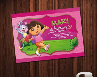 Dora the Explorer Invitation - Dora the Explorer Invite - Dora Birthday Invitation - Dora Birthday Party - Digital File Download