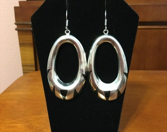 Silver with black inlay earrings