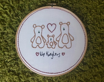 Personalised bear family embroidery hoop art