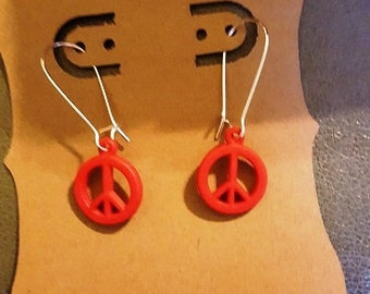 Earrings - peace (red)
