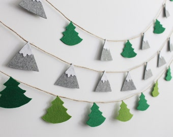 Felt Mountain Garland Mountains and Pine Trees Garland Scandinavian Nursery Banner Mountain Bunting Décor, Christmas Grey Green Felt Garland