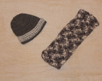 Crochet Grey Hat and Scarf, Grey Hat and Scarf, Winter Hat and Scarf, Purity Hat and Scarf