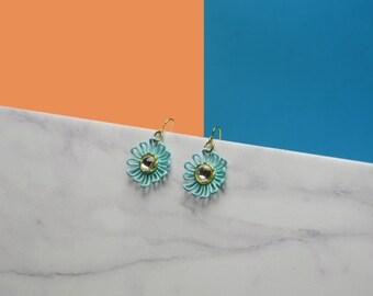 Turquoise Daisy Earrings