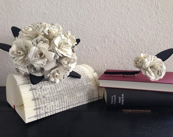 Bridal bouquet + badges from book pages / sheets / wedding bouquet / Upcycling / paper flower / paper rose / rose / registry book
