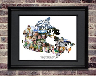 Canada Photo Collage - Canadian Art - Canadian Maps - Canadian Wall Art - Canada Gift - Canada Map Art - Canada Print - Canada Home