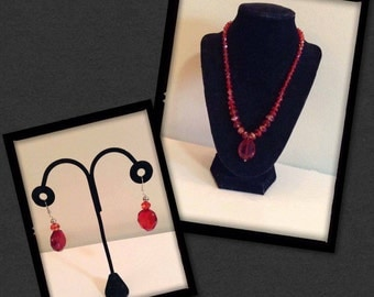 Blood Red Crystal Necklace With Earrings