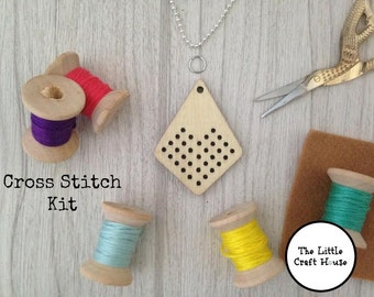 Cross Stitch Kit // Pendant // Make Your Own // DIY // Gift // Craft Kit