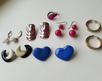 Classic 1980's Lot of Vintage Costume Jewelry -  All Earrings Included - Large Stud Earrings - Retro Chic Classics for Pierced Ears