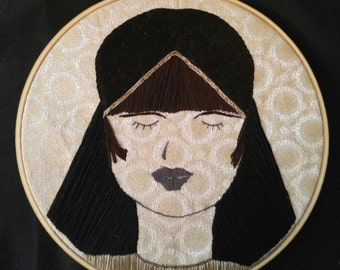 Hand Embroidered Louise Brooks Pandora's Box on Metallic Jacquard Fabric Wall Hanging Home Decor Textile Art Fiber Art