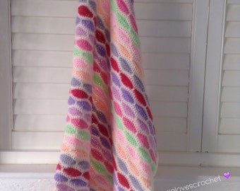 Hand made crocheted baby blanket 59cm x 72cm