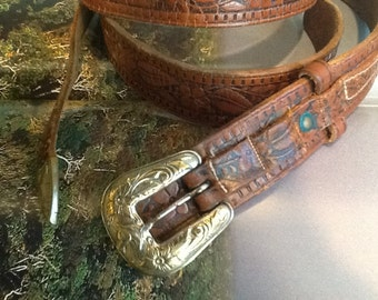 Western leather belt with silver buckle, 40 inches