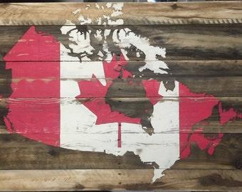 Weathered Canada Flag Map on Pine slats