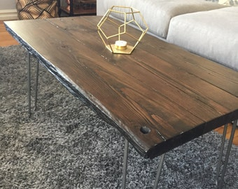 Reclaimed Barnwood Coffee Table || Living Room Table || Dark Walnut || Hairpin legs || CUSTOM