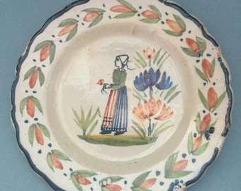 French antique HENRIOT QUIMPER saucer plate, Petit Breton, ceramic pottery, 1920