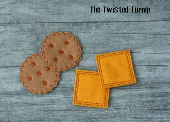 Kid's Felt Food Cheese and Crackers Machine Embroidery Design Set Tea Party 2 Files Instant Download 5x7 Hoop Play Food