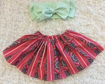 Handmade Coral Stripe Baby Girl Skirt With Mint Green Headwrap