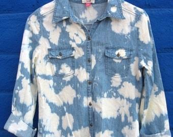 Acid Washed 90s Style Denim Blouse (Long Sleeve)