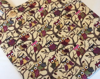 Large Handmade Lined Owl Design Tote Bag-Cotton Furnishing Fabric