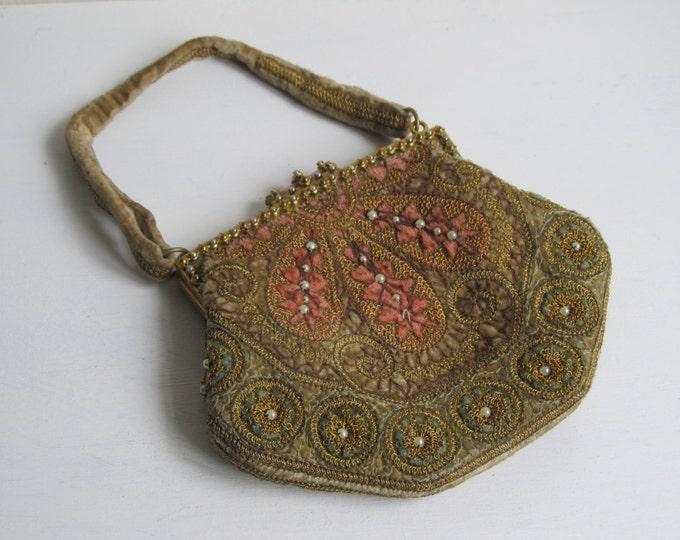 Antique French handbag, Belle Epoque era rare collectible purse, velvet top handle bag, soft pink green faux seed pearls ormulu frame