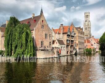Digital Photo - Bruges  Rozenhoedkaai, Bruges Photo, Bruges Architecture, Bruges Illustration, Travel Photo,  Belgium Photo, Bruges Canal