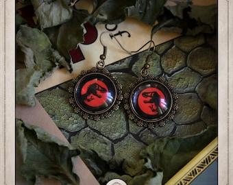 JURASSIC PARK bronze cabochons earrings round 20mm dinosaur dino t-Rex tyrannosaurus rex BOCB012 logo
