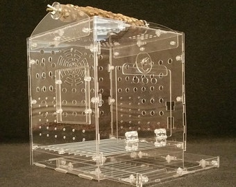 Clear Acrylic Carrier Bird Cage Travel Cage - Small Birds