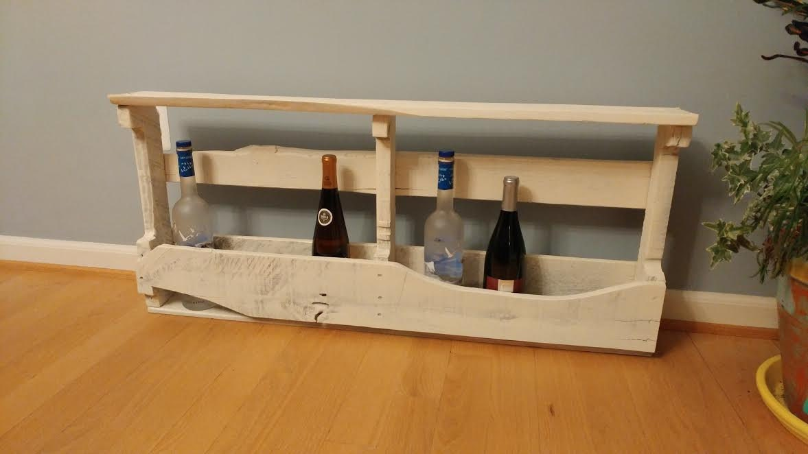 White washed wine rack for wall  Made from pallet wood