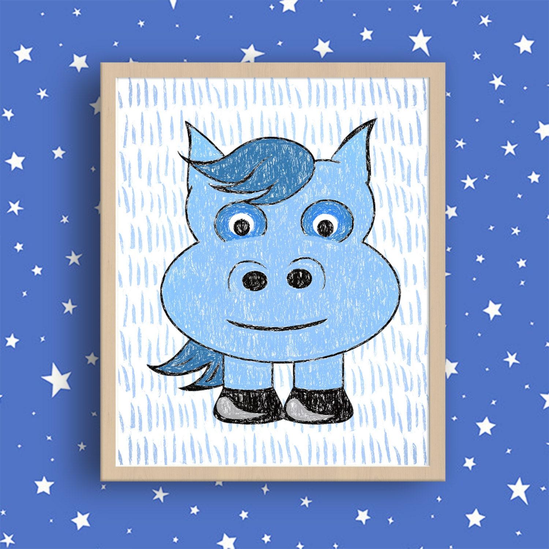blue donkey art print little donkey print blue animal